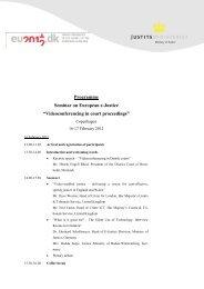 "Programme Seminar on European e-Justice ""Videoconferencing in ..."