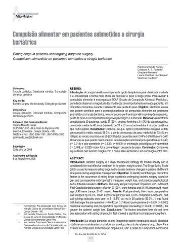 Artigo - Sociedade Brasileira de Nutrição Parenteral e Enteral