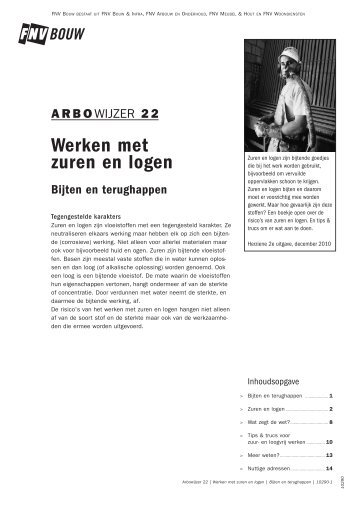 Arbowijzer 22 - Werken met zuren en logen - FNV Bouw