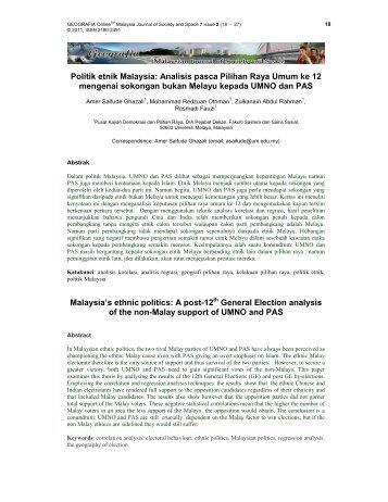 Politik etnik Malaysia: Analisis pasca Pilihan Raya Umum ke 12 ...