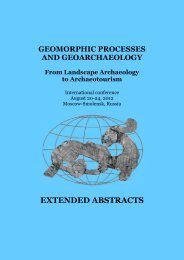extended abstracts - Geomorphic Processes and Geoarchaeology