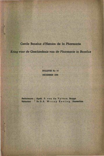 1956-014 geschiedenis/histoire pharmacie - Kringgeschiedenis