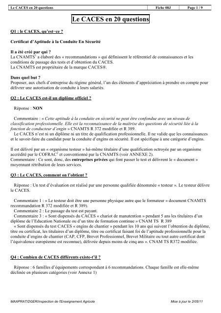 Le CACES en 20 questions - ChloroFil