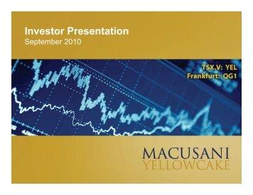 Investor Presentation - Macusani Yellowcake
