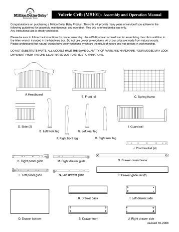 million dollar baby crib instructions k5101