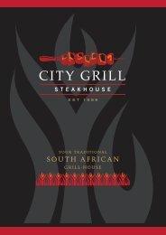 A la Carte menu - City Grill