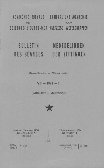 (1961) n°1 - Royal Academy for Overseas Sciences