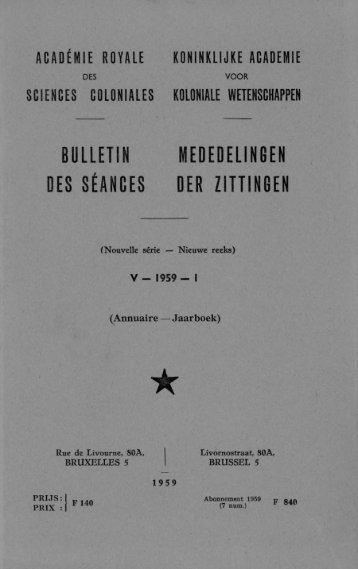 Vol.5(1959) n°1 (PDF format) - Royal Academy for Overseas Sciences