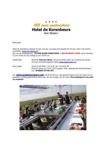 Beste gast, Hotel De Korenbeurs bestaat dit jaar 125 jaar, wij gaan ...