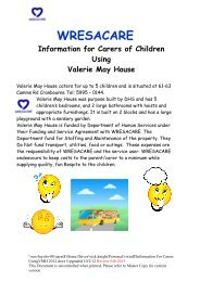 Information for Carers Using Valerie May House - Wresacare