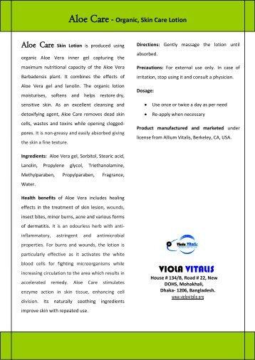 Organic, Skin Care Lotion - Viola Vitalis