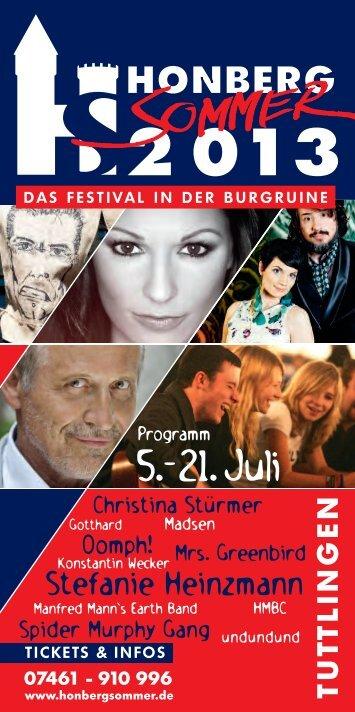 Programmheft Honberg-Sommer 2013 - Tuttlinger Hallen