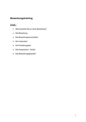 Bewerbertraining - WMF-BKK