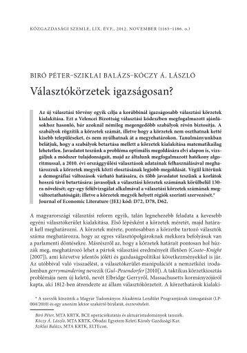 Választókörzetek igazságosan? - Corvinus Research Archive