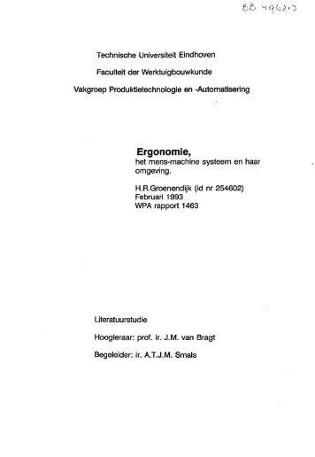 Ergonomie, - Technische Universiteit Eindhoven