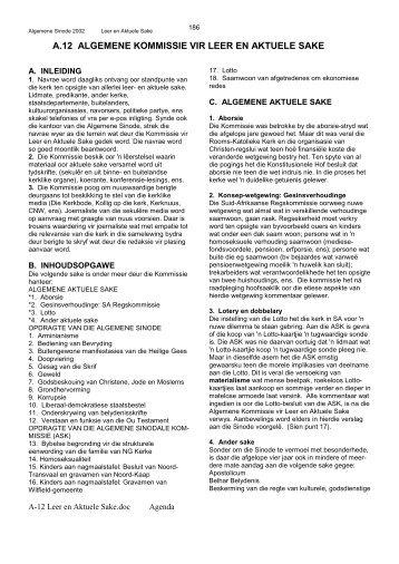 A.12 ALGEMENE KOMMISSIE VIR LEER EN AKTUELE SAKE