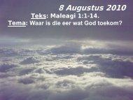 8 November 2009 Lees: Johannes 6:47-69 Teks ... - gkbenoni.co.za
