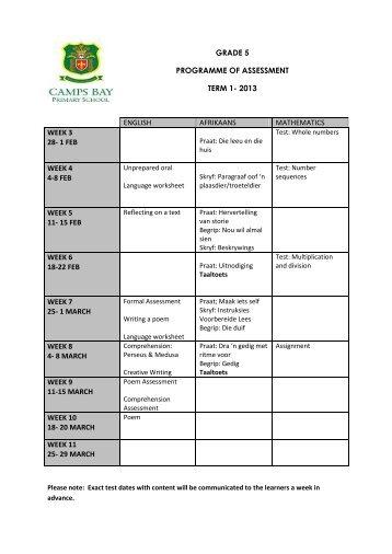GRADE 5 PROGRAMME OF ASSESSMENT TERM 1- 2013 ...