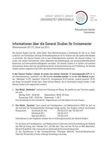 Informationen über die General Studies für Erstsemester