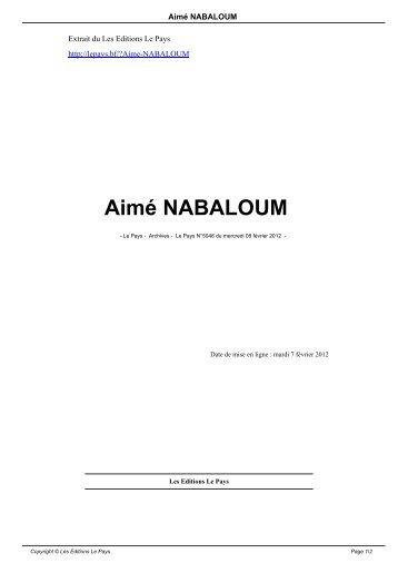 Aimé NABALOUM - Le Pays