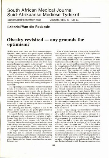 Obesity revisited - any grounds for optimism? - SAMJ Archive ...