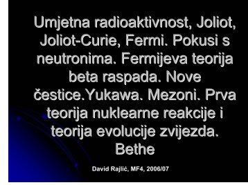 Umjetna radioaktivnost, nove čestice