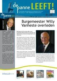 Burgemeester Willy Vanheste overleden - De Panne