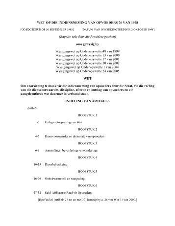 wet op die indiensneming van opvoeders 76 van - Federasie van ...