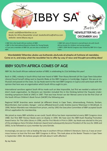 IBBY SOUTH AFRICA COMES OF AGE