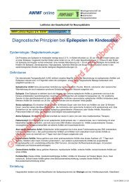 Epilepsien im Kindesalter - Diagnostische Prinzipien - AWMF
