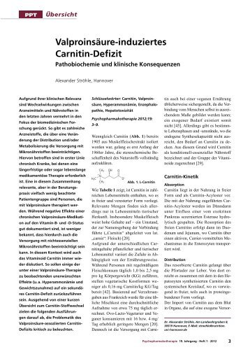 Valproinsäure-induziertes Carnitin-Defizit