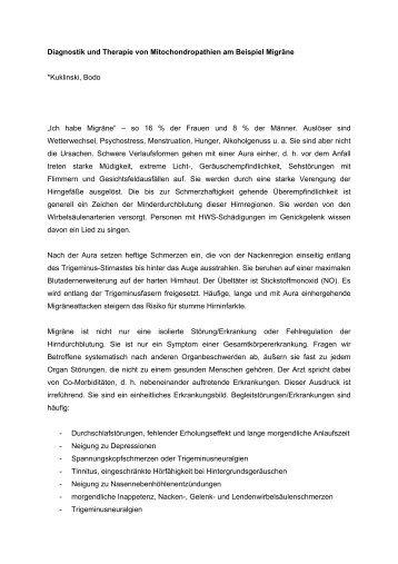 Diagnostik und Therapie von Mitochondropathien am Beispiel ...