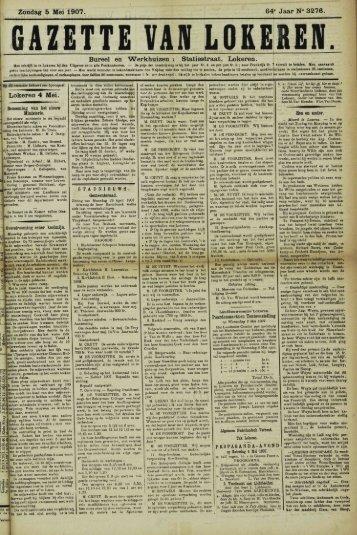 """Zondag 5 Mei 1907. 64"""" Jaar N° 3276. Bureel en Werkhuizen ..."""