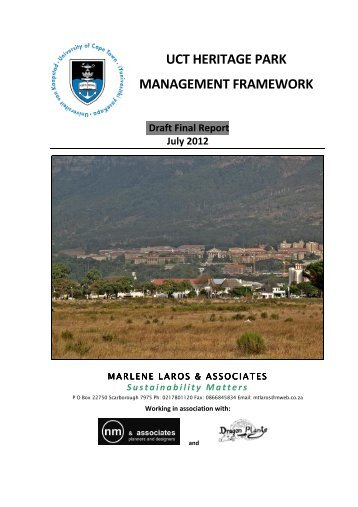 uct heritage park management framework - University of Cape Town