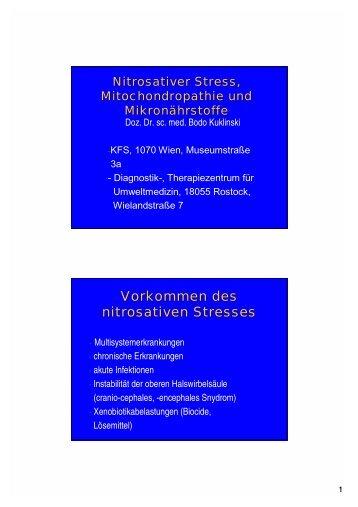 Nitrosativer Stress, Mitochondropathie und Mikronährstoffe