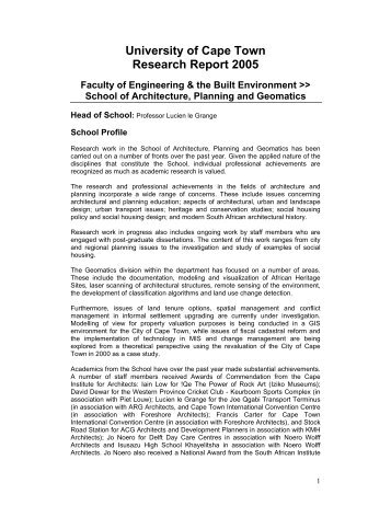 University of Cape Town Research Report 2005
