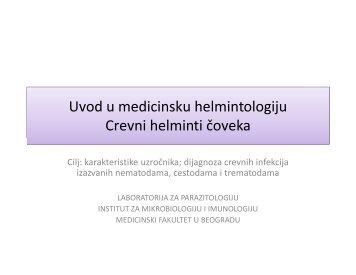 uvod u helmintologiju - Medicinski fakultet - Univerzitet u Beogradu