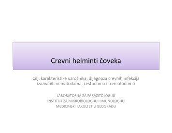 Crevni helminti čoveka - Medicinski fakultet - Univerzitet u Beogradu