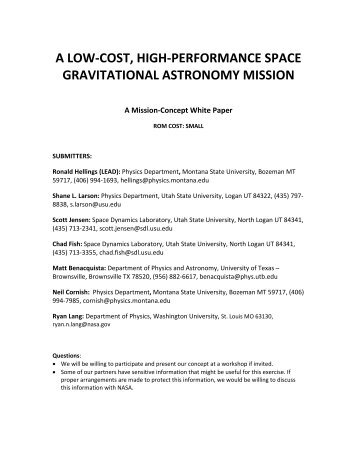 a low-cost, high-performance space gravitational astronomy ... - Nasa