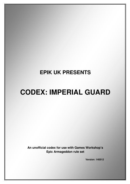 CODEX: IMPERIAL GUARD - Epic-UK