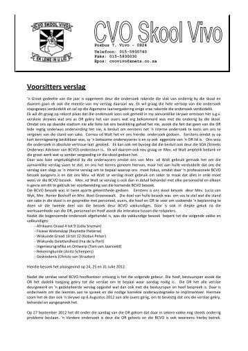 Voorsitters verslag - Welkom by CVO Vivo