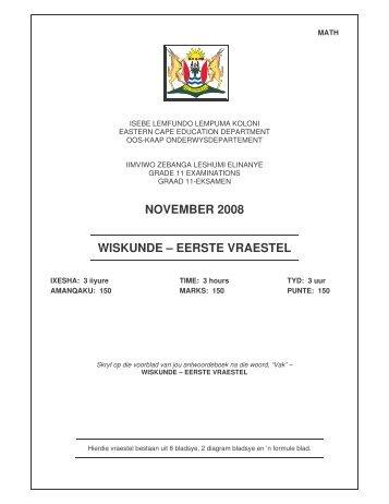 Gr.11 Wiskunde Vraestel 1 Nov. 2008 - Curriculum