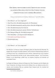 Der Absolutheitsanspruch des Christentums und der allgemeine ...