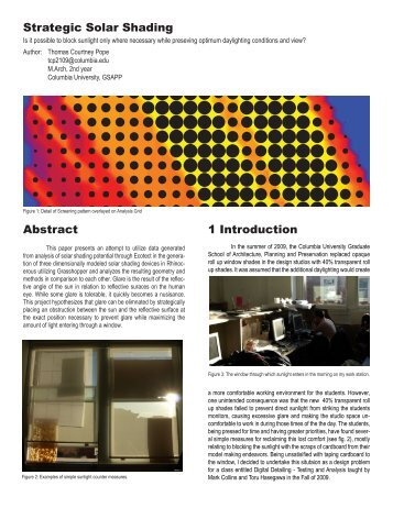 Strategic Solar Shading - Columbia University Graduate School of ...