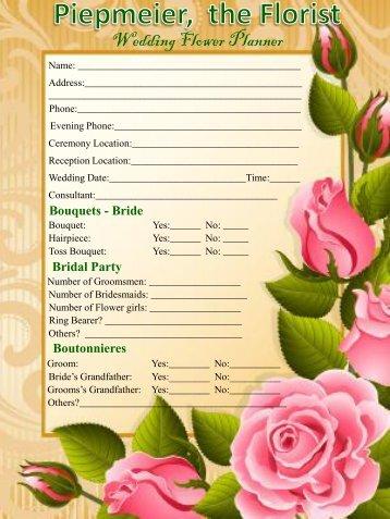 Wedding Flower Planner - Piepmeier, The Florist