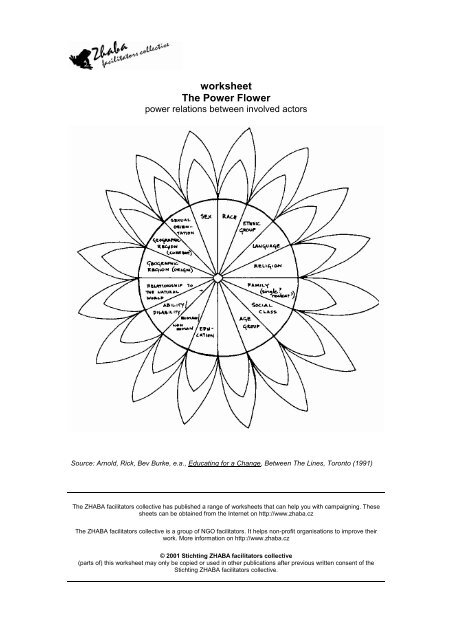worksheet The Power Flower - Zhaba Facilitator Collective