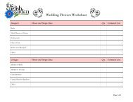 Click here for a Wedding Flowers worksheet - The English Garden