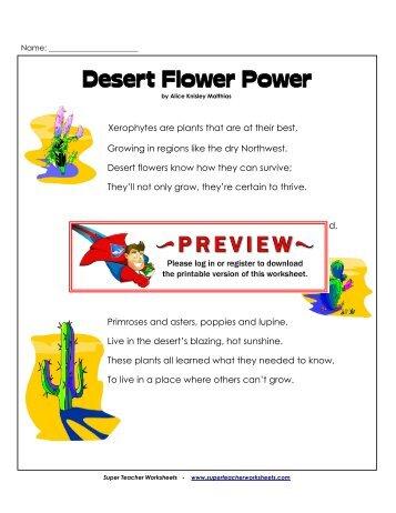 Poem: Desert Flower Power - Super Teacher Worksheets