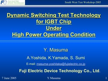 Dynamic Switching Test Technology for IGBT Chip Under High ...