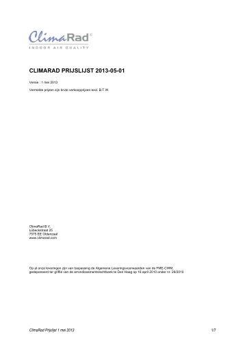 Prijslijst 2013-05-01, geldig voor leveringen vanaf 1 mei ... - Climarad